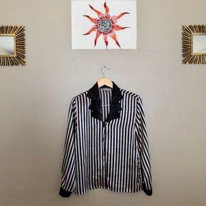 NICOLA vintage stripped 💯 polyester button down